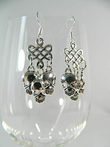 Ohrringe Keltischer Knoten Schädel Skull Gothic Modeschmuck Barock Rokoko Chandeliers