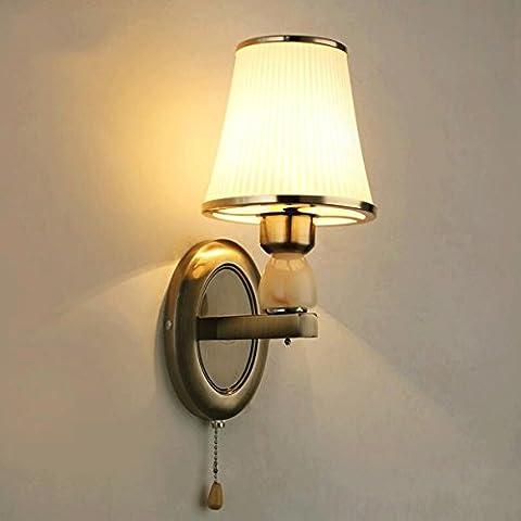 FHK,Wandleuchten Amerikanischen minimalistische Wandleuchte Nachttischlampe Schlafzimmerlampe gemütliches Wohnzimmer mit einem Schalter Korridor für die Hintergrundwandleuchten Dekorative Wandleuchten