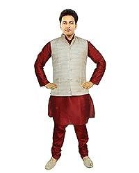JBN Creation Men Maroon Raw Silk Kurta Pyajama With Matka Silk Jacket