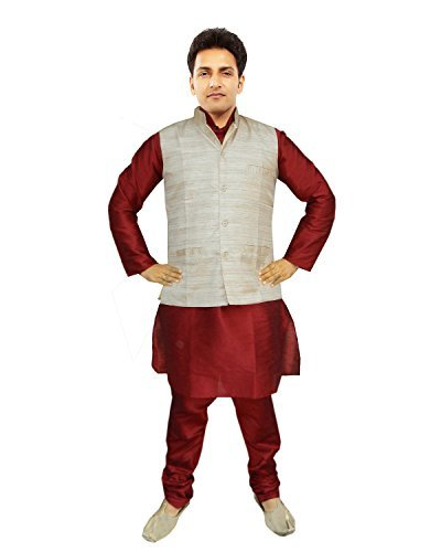 JBN-Creation-Men-Maroon-Raw-Silk-Kurta-Pyajama-With-Matka-Silk-Jacket