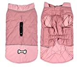 Waterproof Dog Coat Winter Warm Jacket Vest - Windproof Snowsuit Dog Clothes Outfit Vest Pets Apparel for Small Medium Large Dogs with Harness Hole-Pink-XXL