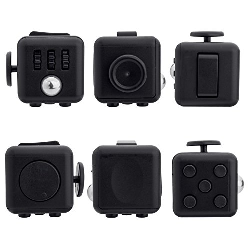 JuYi Fidget Toy Cube Relieves Stress And Anxiety for Children and Adults (Black)