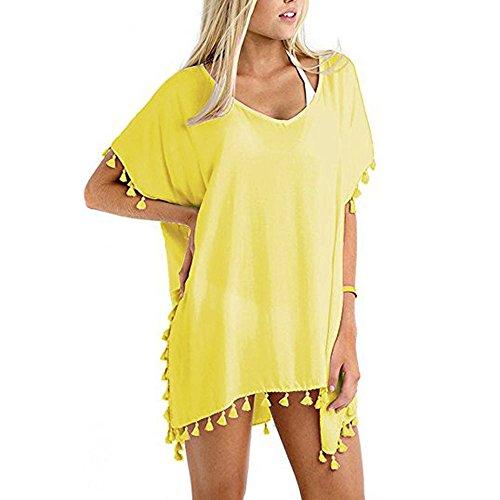 nika Strandponcho Sommer kurze Bat Ärmel Kleid Bluse Swimwear Tief V Bikini Cover Up Bikini Tunika Bluse Spitze Lang Strandkleid Cover Up BK-902 (Gelb) (Gelbe Tunika Kleid)