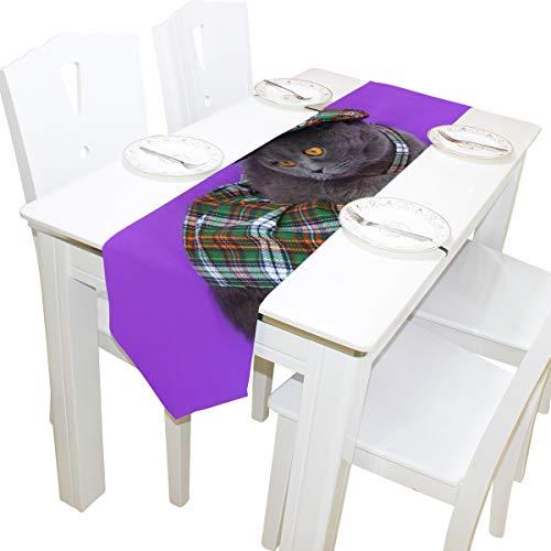 Yushg Rock Gekleidet Nette Katze Kommode Schal Tuch Abdeckung Tischläufer Tischdecke Tischset Küche Esszimmer Wohnzimmer Home Hochzeitsbankett Decor Indoor 13x90 Zoll
