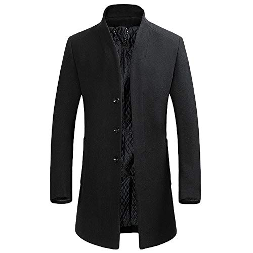 YOUTHUP Herren Wollmischung Mantel Slim fit Warmbody Windbreaker Business Winter Jacke