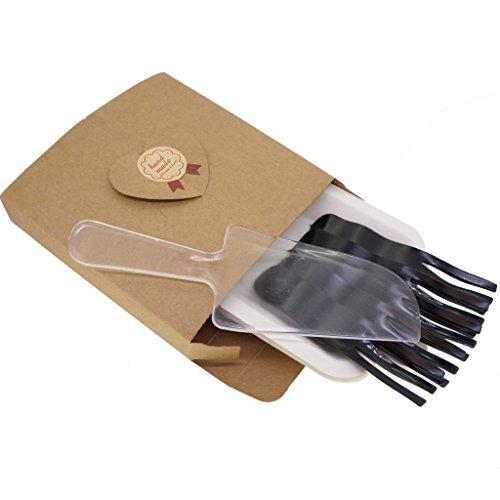 Party Essentials hochwertigem Kunststoff Gabeln und Platten mit einem klar Kuchen Servieren Messer Box Set (für 5Personen) (Klar Klebriger)