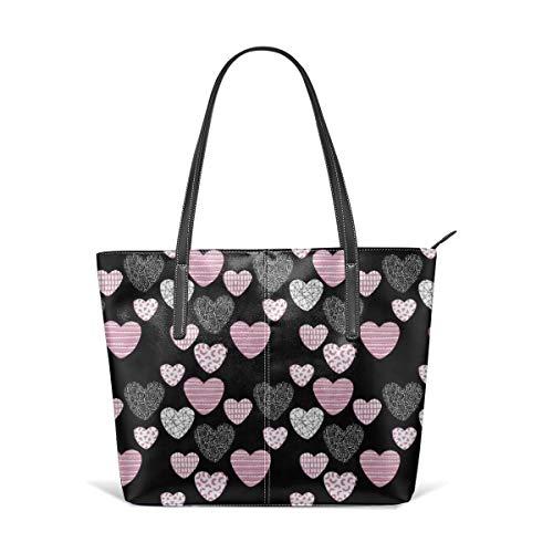 Frauen aus weichem Leder Tote Umhängetasche Big Love Geometric Hearts Valentinstag und Hochzeit Thema für romantische Liebhaber schwarz rosa Mode Handtaschen Satchel Geldbörse (Sonnenbrille Hochzeit Bulk)
