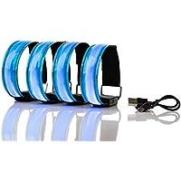 SET VON 4 WIEDERAUFLADBAREN LED-ARMBÄNDERN Super Helle Hoch Sichtbare Reflektierende LED Sicherheitslichter für Laufen, Radfahren, Wandern. Blinkende und statische LED-Funktionen USB wiederaufladbar