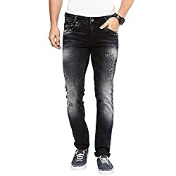 Mufti Mens Black and Blue Low Rise Super Slim Fit Jeans (36)