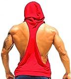 LemonGirl Herren Sport T-Shirt Sweatshirt Hood West Tank Top mit Kapuze Weste Ärmellos Kapuzenshirt Fitness Gym Joggen