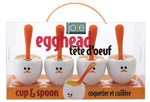 Joie Eggy Set De 4 Hueveras Y Cucharas, Plástico, Blanco/Naranja preisvergleich