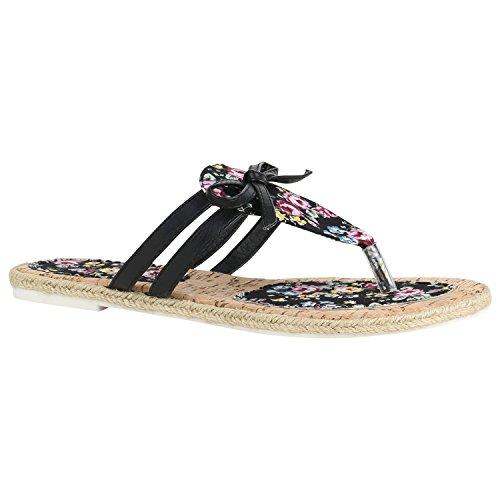 Damen Zehentrenner Beach Schuhe Lack Flats Sandalen 155750 Schwarz Schleifen 41 Flandell