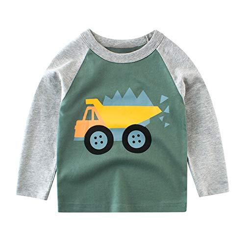 De feuilles Jungen Rundhals Langarmshirt Kinder Kleidung Cartoon Sweatshirt Mit Print Autos Druck Bio Baumwolle -
