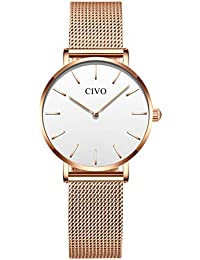 CIVO Relojes para Mujer Señoras Simple Impermeable Oro Rosa Relojes de  Pulsera Chicas Adolescentes Fresco Moda b3320f798ad2