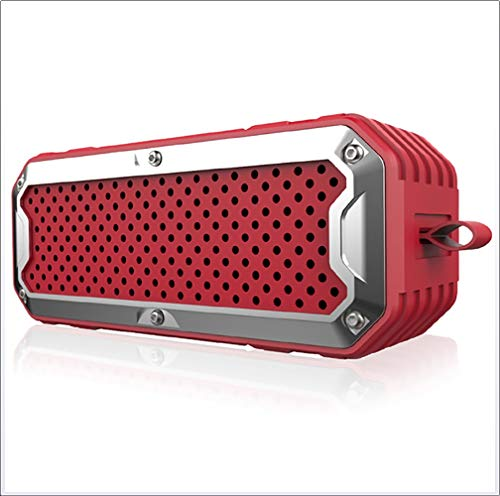 Stereo Bluetooth Lautsprecher Waterproof Outdoor Wireless Subwoofer Handsfree Support AUX TF Card 4000mAh Batterie,Red