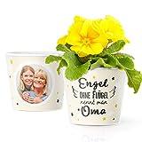 Facepot Oma Geschenkideen - Blumentopf (ø16cm) schöne Oma Sprüche mit Bilderrahmen für Zwei Fotos (10x15cm) - Engel ohne Flügel nennt Man Oma