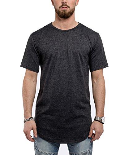 Phoenix Oversize Round T-Shirt Herren Longshirt Long Tee - Langes Shirt S,M,L,XL Charcoal
