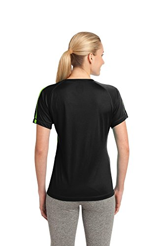 Sport-Tek Polo de Colorblock Competitor pour Femme Black/Lime Shk