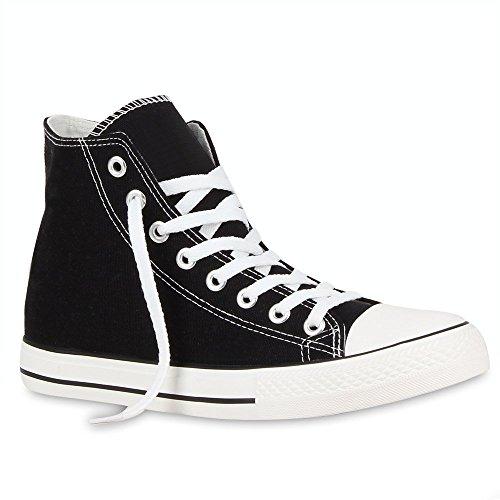 Herren Sneakers Sneaker High Denim Turn Camouflage Stoff Schnürer Schuhe 54120 Schwarz Ambler 43 Flandell