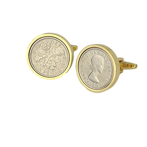 Lucky Sixpence Cufflinks with Gold Mount | 1959 coins, 60th birthday present, Boxed, 1959 Anniversary
