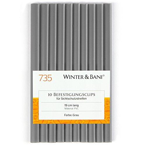 Winter & Bani Clips für Sichtschutzstreifen   Diverse Farben (10 Clips, Grau)
