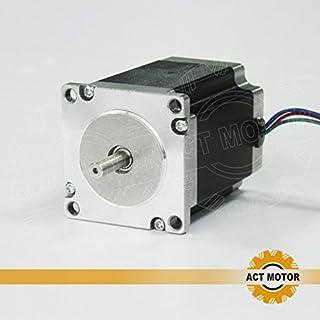 ACT Motor GmbH Nema23 1PC 23HS8430 76mm body 3A 1.9 Nm Round Shaft Ø 6.35mm Automation 3D-Printer Carver Machine, CNC Machine
