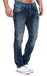 MERISH Jeans Herren Slim Fit Jeanshose Stretch Designer Hose Denim 501 (33-32, 501-4 Blau JJ)