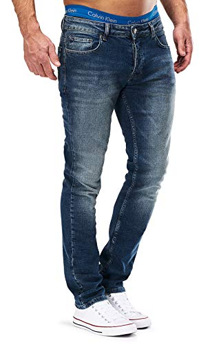 MERISH Jeans Herren Slim Fit Jeanshose Stretch Designer Hose Denim 501 (34-34, 501-4 Blau JJ)