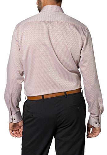 Eterna Long Sleeve Shirt Modern Fit Figurative Dobby Pattern Checked Beige/Marrone