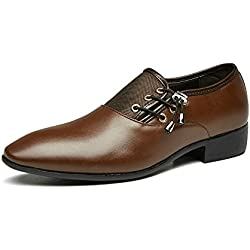 Pisacacas Tela de Lona de Negocios para Hombres/Zapatos de Cuero Artificiales de la PU Zapatos de Vestir Formales de Boda CN Tamaño 45/46/47/48 Colores Blancos Negros Clásicos de Brown(CN 47,G-Marrón)