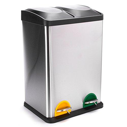 *MSV Mülleimer Mülltrennsystem 40 L (2×20 Liter) mit Inneneimer große Abfallbehälter Abfalleimer Treteimer Edelstahl*