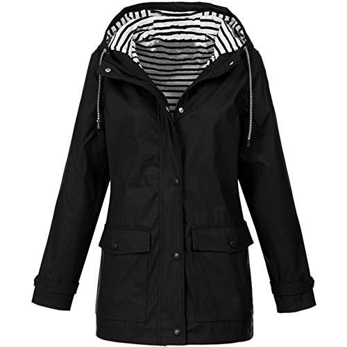 POPLY Damen Hoodie Windbreaker Jacke, Frauen Windproof Zip Button Up Taschen Coat Solid Color Outdoor wasserdichte Outwear Button Up Band