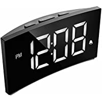 """PICTEK Digital Alarm Clock, 5"""" Curved Dimmable LED Screen, Digital Alarm Clock with Ultra-Clear White Large Number, 6 Brightness, Snooze, 12/24H, Alarm Clock for Bedroom Office, White (NO Adapter)"""