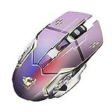 RYTEJFES Raton inalambrico Ratón Gaming X8 inalámbrico Recargable inalámbrico silencioso LED retroiluminado óptico USB ergonómico ratón para Juegos