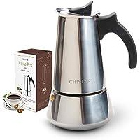 CHISTAR Cafetera Italiana, Cafetera Espresso induccion en Acero Inoxidable, induccion 6 Tazas (300ml)