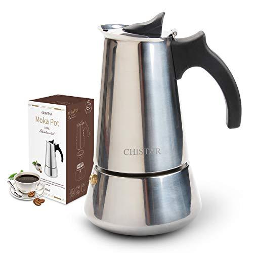 CHISTAR Espressokocher 6 Tassen(300ml) Kaffeekocher aus Edelstahl, Induktion Geeignet