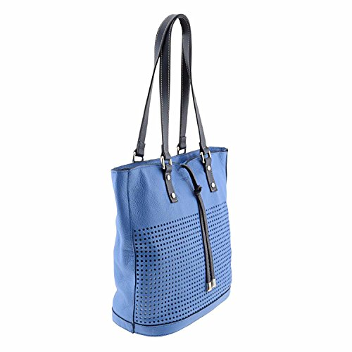 shopping bag Style pelle liscia in bianco Blu
