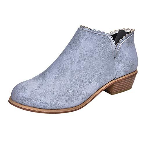 (Stiefel Damen Vintage, Sonnena Rund Toe Martin Stiefel Lässige Stiefeletten Booties Low Heels Party Stiefel Schuhe Frauen Outdoor Schuhe Boots Damenschuhe)