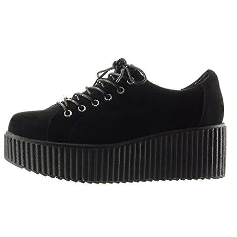 Angkorly - damen Schuhe Sneaker - Plateauschuhe - Schlangenhaut - Krokodil Keilabsatz high heel 6 CM - Schwarz DIN01 T