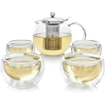 Juego de Té Teabloom – Apto para Fogones + Hervidor Tetera de Cristal Sin Plomo (1.2 L) con Infusor de Acero Inoxidable Extraíble para Té a Granel – Incluye 4 Tazas (150 ml)