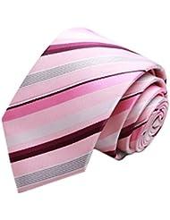Simple et chic pour homme Business Liens Cravate formelle avec boîte cadeau, Violet/Rose à rayures
