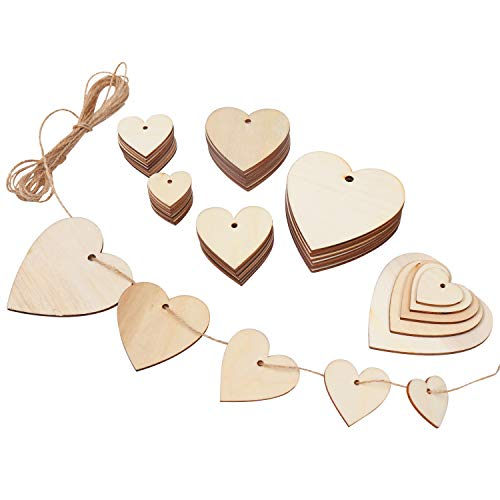 Pack 100 Corazones Madera - Recortes Decorativos 2mm