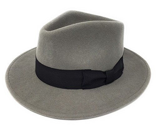 Herren Handgefertigt 100% Wollfilz Indiana Style Knautschfähig Fedora Hut - Grau, Small - 55cm (Fedora Sitz)