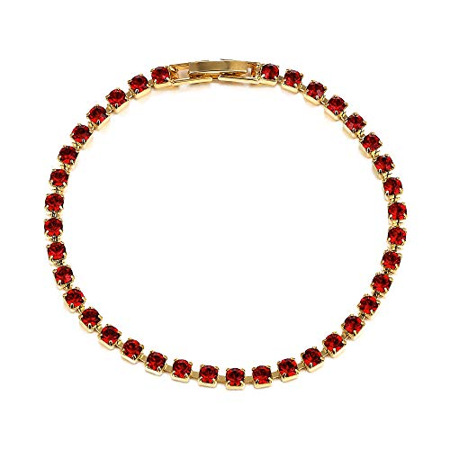 015f4dab9 LJ Designs Ruby Swarovski Bracelet - Women's Gold Plated Diamante Bracelet  Made from Red Swarovski Crystals