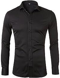 Harrms Camisa Bambú Fibra Hombre, Manga Larga, Slim Fit, Camisa Elástica Casual/Formal Para Hombre