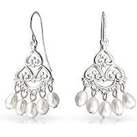 Bling Jewelry Sterling Silver nuziale ciondola Pearl lampadario orecchini