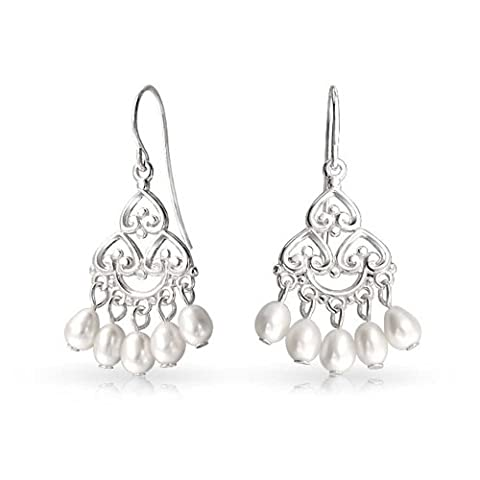 Bling Jewelry 925 Silver Bridal Dangle Freshwater Cultured Pearl Chandelier