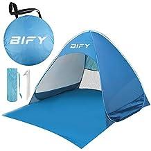 BIFY Pop up Strandmuschel/Trandzelt Beach Tragbar Wurfzelt,UV Schutz 50+ für1-3person mit Haus Verschiedene Arten Aktivitäten am Strand