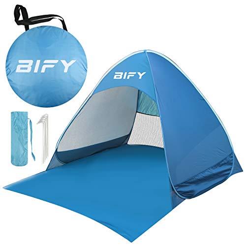 BIFY Pop up Strandmuschel/Strandzelt Beach zelt Tragbar Wurfzelt, UV Schutz 50+ für 1-3 person mit Haus Verschiedene Arten Aktivitäten am Strand (Blau) ...