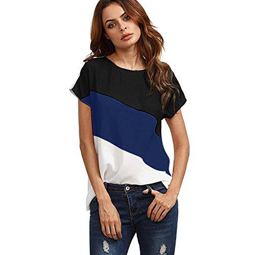 QinMM Mujer Redondo De La Túnica De Manga Corto Camisas Blusas Color Block T-Shirt Camisetas (Oscuro Azul, 3XL)